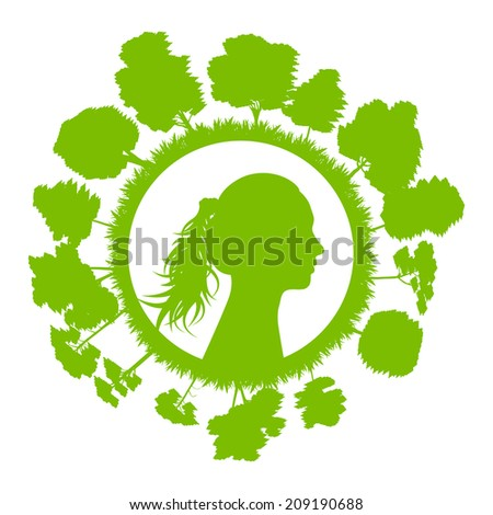 Woman head with tree green ecology concept background - stock vector