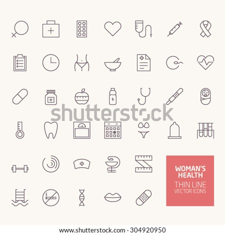 Woman Health Outline Icons for web and mobile apps - stock vector