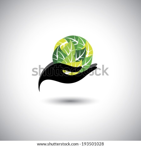 woman holding a ball of leaves - spa concept vector. The graphic icon also represents protecting natural resources, organic products, wellness industry, beauty industry - stock vector