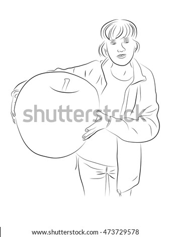 Woman holding a huge apple. Pencil drawing by hand