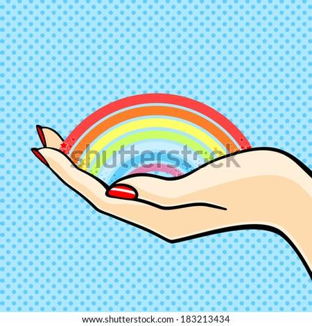 Woman holding a rainbow - stock vector