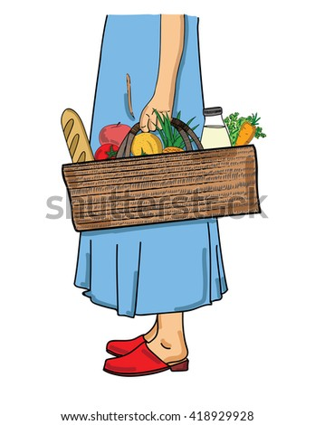 woman holding a shopping basket with foods. vector illustration - stock vector
