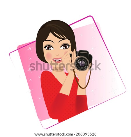 woman holding camera character illustration