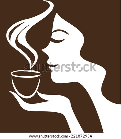 Woman holding cup  - stock vector
