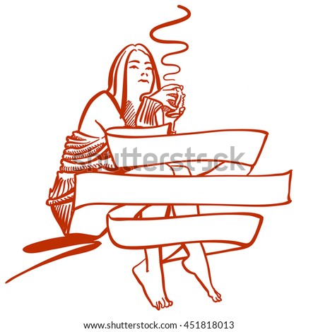 Woman holding cup of Coffee in Back of Banner, Wakeup Scene in Hotel or bedroom at home. Hand drawn Vector Artwork for any kind of advertising.