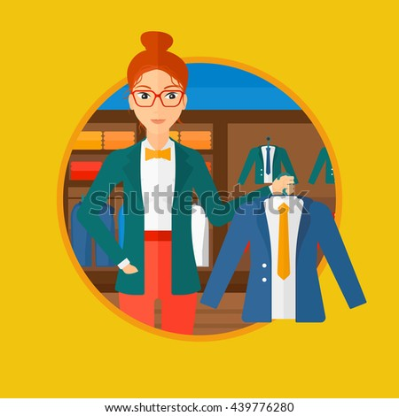 Woman holding hanger with suit jacket and shirt. Woman choosing suit jacket at clothing store. Shop assistant offering jacket. Vector flat design illustration in the circle isolated on background. - stock vector