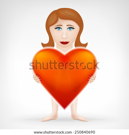 woman holding her big red heart and looks for love concept vector graphic design isolated on white background - stock vector