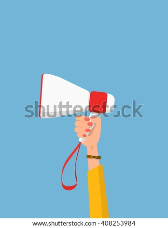 Woman holding megaphone. Vector hand with bullhorn. Woman's hand holding megaphone. Vector illustration in flat style. Political agitation campaign. Picket. Protest. - stock vector