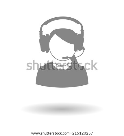 Woman icon call center technical support faceless woman with a headset on a white background with shadow