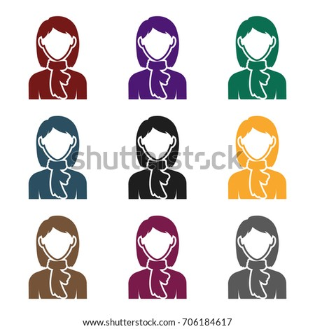 Woman icon in black style isolated on white background. Avatar symbol stock vector illustration.