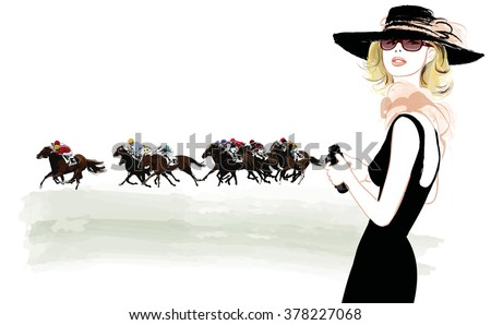 Woman in a horse racecourse with binoculars - vector illustration - stock vector
