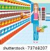 Woman in a supermarket. vector, no gradient - stock vector