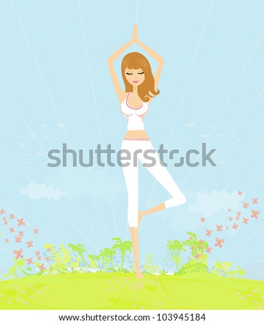woman in a traditional yoga pose vector illustration - stock vector