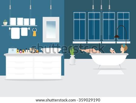 Woman in bathtub,Modern Bathroom interior design with furniture, bathtub, sink, shower and accessories, Vector illustration. - stock vector