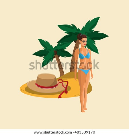 woman in bikini and travel related icons