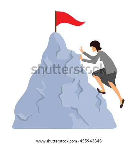 Woman in business clothes climbs to the mountain top. Reaching the goal concept, vector illustration.