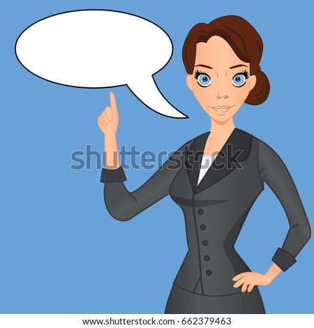 Woman in business suit with speech bubble, speech balloon, index finger raised up. Important information, comment, advice, idea vector illustration.
