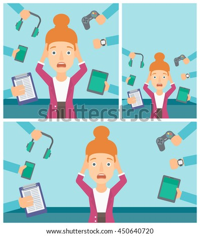 Woman in despair and many hands with gadgets around her. Woman surrounded with gadgets. Woman using many electronic gadgets. Vector flat design illustration. Square, horizontal, vertical layouts. - stock vector