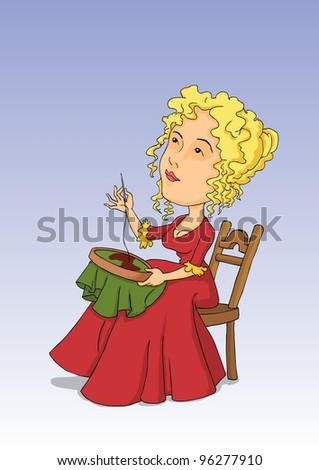 Woman in elegant dress is engaged in handicrafts - stock vector