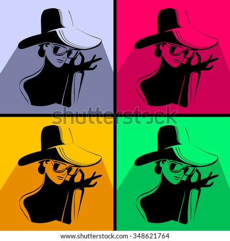 Woman in glasses and hat silhouette. Four color interpretations.
