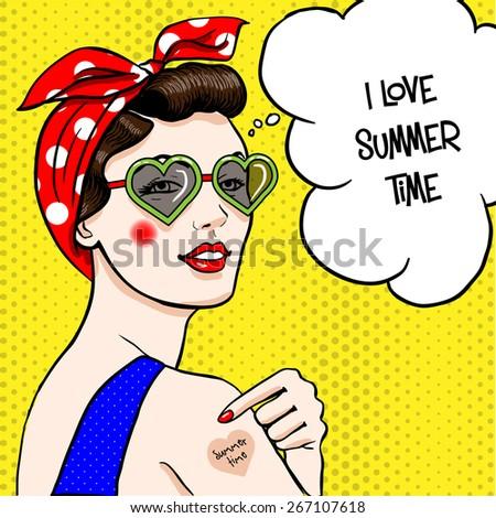 Woman in heart shape sunglasses in comic art style. - stock vector