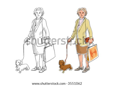 Woman in jacket and skirt with shopping bag and a dog.
