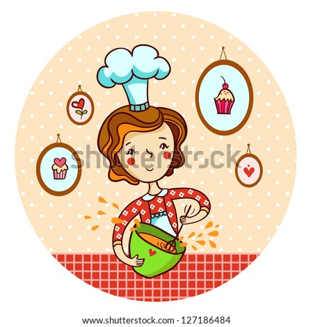 Woman in kitchen. Cook. - stock vector