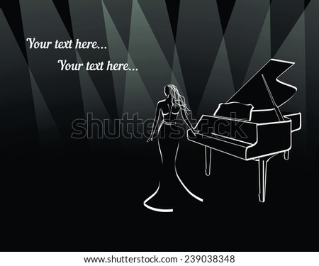woman in long dress near piano under border lights border lights abstract outline in black and white with place for text. Vector illustration for musical poster or cover - stock vector