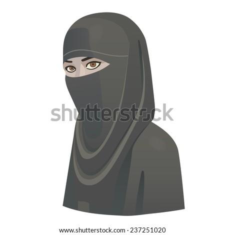 woman in niqab - stock vector
