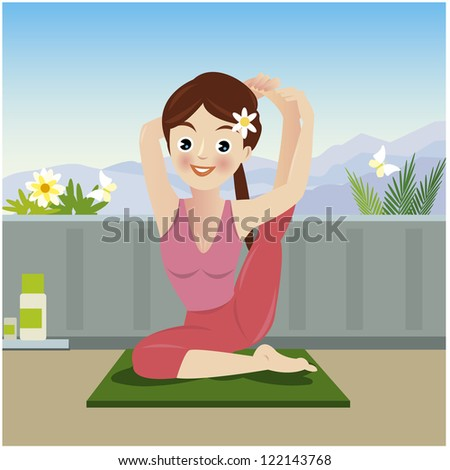 Woman in pose practicing yoga - stock vector