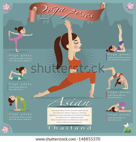 Woman in pose practicing yoga.vector illustration - stock vector