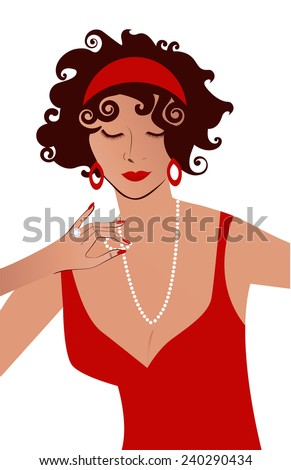 Woman in red dress and jewels  - stock vector