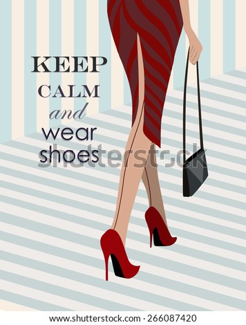 woman in red shoes walking down retro style - stock vector