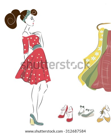 Woman in Retro Style Fashion Dress. Girl on Shopping - stock vector