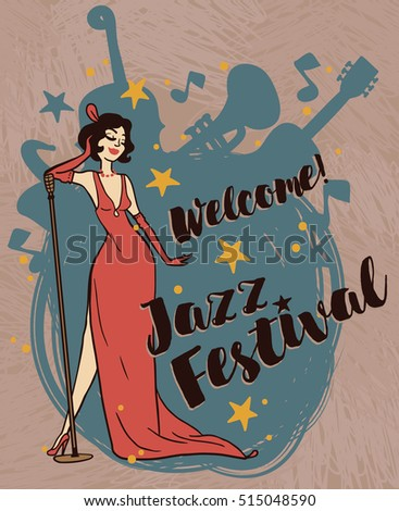 woman in retro style singing jazz music, jazz festival poster, vector illustration