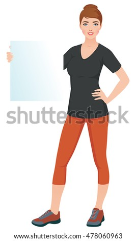 Woman in sports training clothes holding a blank white banner Stock vector illustration
