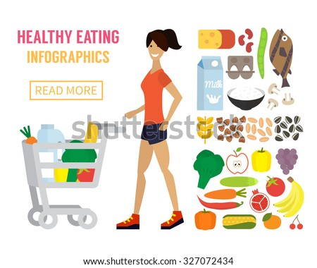 Woman in supermarket with cart full of food. Healthy eating concept. Flat design vector. - stock vector