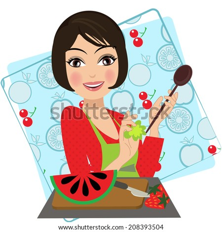 woman in the kitchen with fruits character illustration