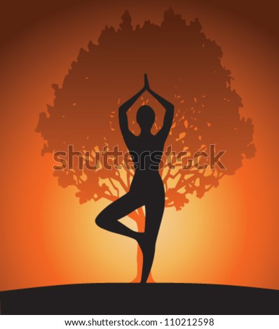 Woman in yoga tree pose on sunset. Vector - stock vector