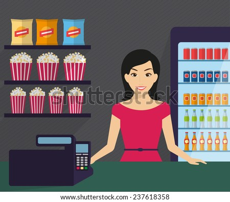 Woman is working in the shop. Flat modern illustration - stock vector