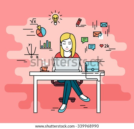 Woman is working with laptop. Flat line contour illustration of student studying process sitting at home. Young woman with social media and education infographics symbols such as chart, diagram, graph - stock vector
