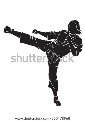 Woman karate fighter. Vector silhouette, isolated on white - stock vector