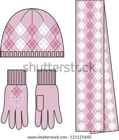 Woman knit complete set (cap, gloves, scarf). - stock vector