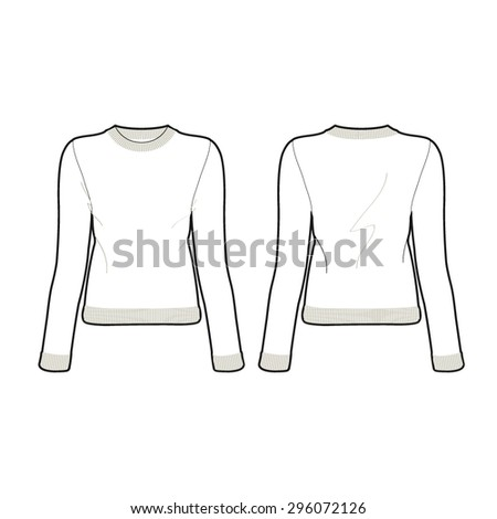 Woman Knitted Sweater Template Stock Vector (2018) 296072126 ...