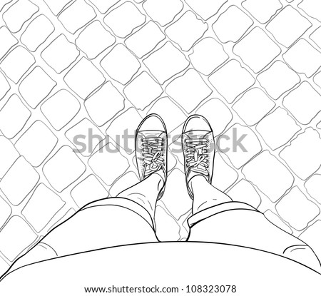 Woman legs in sneakers, standing on the block pavement. Vector illustration. - stock vector