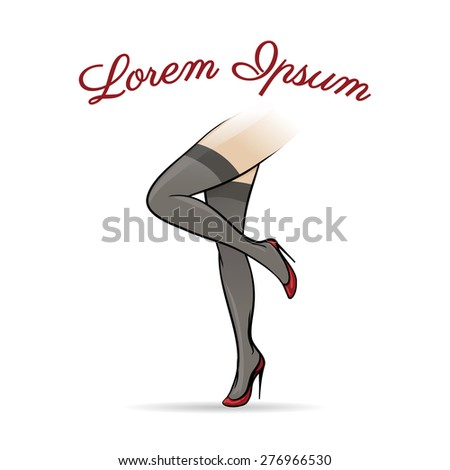 Woman legs in stockings, vintage style. Emblem erotic, gorgeous glamour underwear, vector illustration