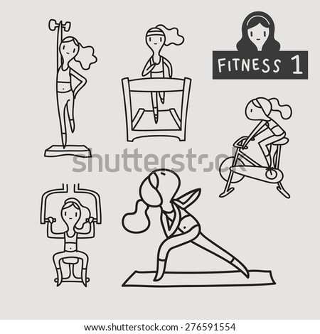 woman lifestyle  fitness exercise gym activity outline stroke icon, illustration vector - stock vector