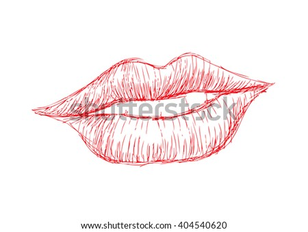 Woman lips. Sketchy style - stock vector
