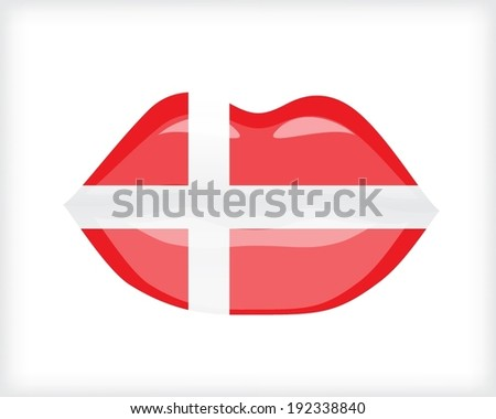 Woman lips with flag of Denmark - stock vector