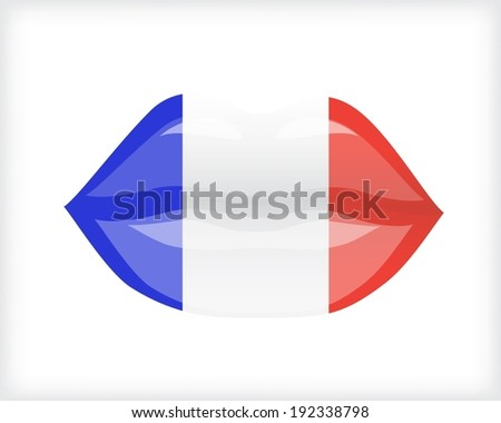 Woman lips with flag of France  - stock vector